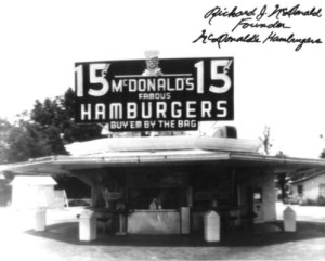 The first McDonalds 1398 North E. Street at West 14th Street in San Bernardino, California
